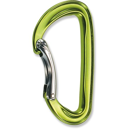 Climbing Weighing a mere 36g (1.3 oz.), the C.A.M.P. USA Photon Bent Gate carabiner is one of the lightest key lock carabiners on the market. 'Biner is ideal for racking gear and making quickdraws. Bent gate offers slightly more gate opening than straight gate to make clipping the rope quick and easy. Key lock nose won't snag on pro, ropes or slings, making the 'biner simple to clip. Surfaces that come into contact with a climbing rope are wider than other parts of the C.A.M.P. USA Photon Bent Gate carabiner for smooth passage of the rope and reduced wear. - $7.93