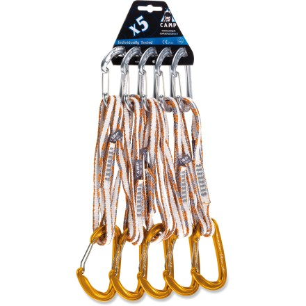 Climbing Use the 60cm C.A.M.P. USA Mach Express Dyneema(R) quickdraws to reduce rope drag on long, wandering climbing routes. Each quickdraw includes a 60cm-long Dyneema(R) sling that is 8mm wide; slings are very light yet strong. Ultralight Nano 23 carabiner on the gear-end of each quickdraw is 1 of the lightest carabiners available. Full-size Photon Wire carabiners on the rope-ends weigh only 29g each and are easy to clip. Carry the quickdraws clipped to your harness as double draws or sling them over your shoulder. Package includes five 60cm-long Mach Express Dyneema quickdraws. - $95.93