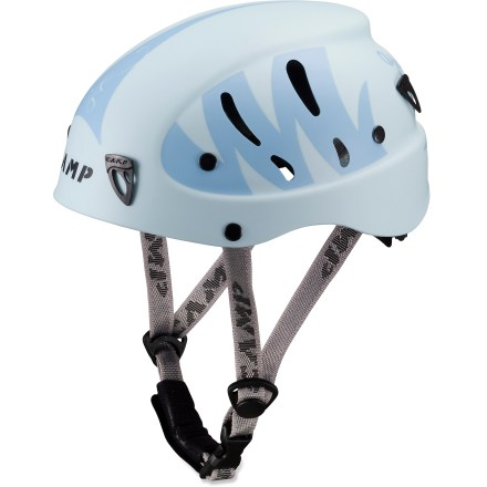 Climbing Sized and styled specifically for women, the C.A.M.P. USA Armour helmet offers an excellent fit and superior protection for rock climbing, ice climbing and mountaineering. Foam interior with soft padding protects head from impacts. Molded ABS plastic shell features 10 vents to encourage airflow. Rear wheel system provides quick and secure adjustment; adjustable, padded chinstrap fine-tunes the fit. C.A.M.P. USA Armour helmet has front and rear clips that hold a headlamp (sold separately) in place. This helmet complies with UIAA and CE safety standards for climbing. - $34.93