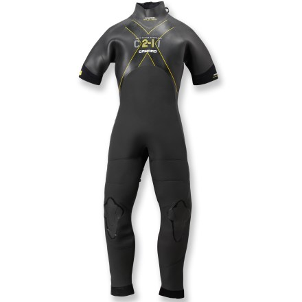 Surf The Camaro CII-II Surf Overall women's wetsuit is a staple for watersports enthusiasts. Grab it whenever the weather looks fickle. 4/3mm neoprene provides excellent warmth; long legs and short sleeves are perfect for mild conditions. Flex zones on sides, back and chest offer increased range-of-motion. Highly elastic double collar with rip-and-stick closure is comfortable and secure. Back-zip with a zipper cover at the collar. Closeout. - $65.83