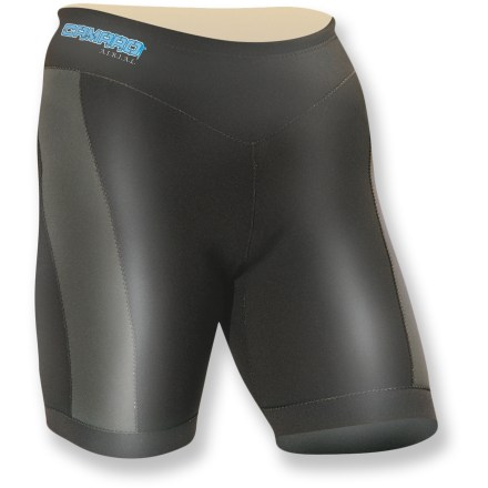 Kayak and Canoe The Camaro Airial Bermuda neoprene women's shorts can be worn alone or under a wetsuit or swim shorts for superior protection and warmth when swimming, kayaking or paddleboarding. - $31.73