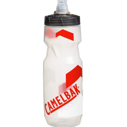 "Fitness The 24 fl. oz. Podium bottle from CamelBak redefines the bike bottle for serious cyclists. Made of medical-grade silicone, the self-sealing JetValve(TM) cap eliminates splatter on your frame and jersey. JetValve lets you sip from any direction or squirt to cool off on long rides; no more ""bite-open, hip-slap shut"" steps. Squeezable sides provide high flow and squirt rates. Made from a proprietary blend of polypropylene with HydroGuard(TM), the Podium lets you taste your drink, not your bottle. Positive shut-off valve on lid provides leakproof transport. Polypropylene is 100% BPA free. Please note: does not protect user against disease-causing organisms; always wash bottle after use. - $6.93"