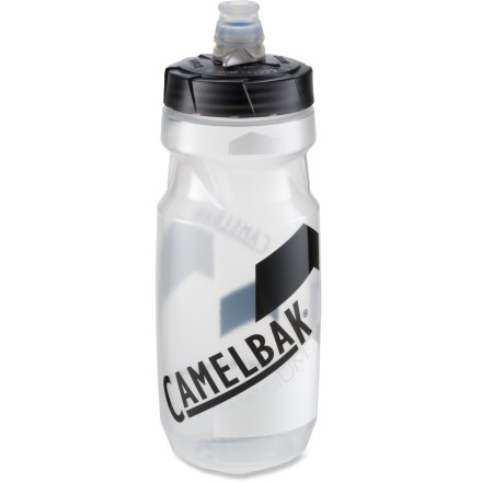 "Fitness The 21 fl. oz. Podium bottle from CamelBak redefines the bike bottle for serious cyclists. Made of medical-grade silicone, the self-sealing JetValve(TM) cap eliminates splatter on your frame and jersey. JetValve lets you sip from any direction or squirt to cool off on long rides; no more ""bite-open, hip-slap shut"" steps. Squeezable sides provide high flow and squirt rates. Made from a proprietary blend of polypropylene with HydroGuard(TM), the Podium lets you taste your drink, not your bottle. Positive shut-off valve on lid provides leakproof transport. Polypropylene is 100% BPA free. Please note: does not protect user against disease-causing organisms; always wash bottle after use. - $9.00"