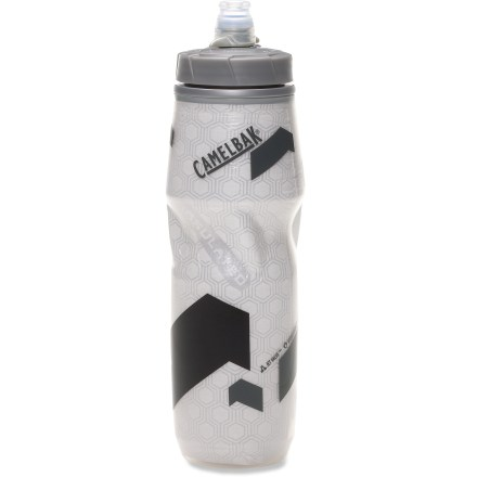 Fitness The high-capacity CamelBak Podium Big Chill 25 fl. oz. insulated water bottle offers an easy-to-use self-sealing valve and insulated performance for all your hydration needs, on and off the bike. Self-sealing JetValve(TM) cap delivers high water flow effortlessly; drink with ease without spills and splatters. Secure lockout on cap ensures leak-free transport and shaking and mixing of powdered drinks. Made from a proprietary blend of polypropylene with HydroGuard(TM), the Podium Big Chill lets you taste your drink, not your bottle. Double-wall construction keeps beverages cool for hours in warm weather or, conversely, beverages warm in cool weather. Polypropylene is 100% BPA free. Please note: does not protect user against disease-causing organisms; always wash bottle after use. - $14.00