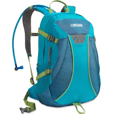 Camp and Hike The women's CamelBak Helena hydration pack offers 100 fl. oz. of liquid capacity, plenty of gear storage and maximum comfort for hours of outdoor adventure. 100 fl. oz. Antidote(TM) reservoir features a welded center baffle and a low-profile shape for stability. Quick Link(TM) system lets you effortlessly add accessories such as a Fresh(TM) filter, insulated tube, tube director, flow meter or hanger (accessories sold separately). Hydration compartment loads easily, holding the reservoir flat against your back to leave more room for layers and gear. Wide-mouth port cuts weight and makes it easy to fill and clean the reservoir; quick-snap cap tightens in just a quarter turn. Folding arms lock into position to hold the reservoir open when drying; arms tuck out of the way around the port when not in use. Short torso length and S-curve harness align with the shape of a woman's body, and the Air Director(TM) back panel helps ensure a comfortable, stable fit. Sternum strap is placed high for a women-specific fit; 1 in. webbing hipbelt is removable. Big Bite(TM) valve is ergonomically positioned for easy drinking. Hike essentials pocket lets you organize lots of small gear; tool loop and lash point let you attach trekking poles or an ice axe to the exterior of the pack. CamelBak Helena hydration pack is assembled in the U.S. of domestic and imported components. - $74.99