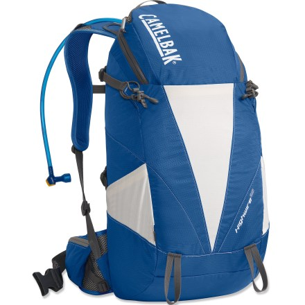 Camp and Hike The CamelBak Highwire 25 hydration pack offers 100 ft. oz. liquid capacity along with a generously sized main compartment and a comfortable harness for a full day on the trail. 100 fl. oz. Antidote(TM) reservoir features a welded center baffle and low-profile shape for stability. Quick Link(TM) system lets you effortlessly add accessories such as a Fresh(TM) filter, insulated tube, tube director, flow meter or hanger (accessories sold separately). Hydration compartment loads easily, holding the reservoir flat against your back to leave more room for layers and gear. Wide-mouth port cuts weight and makes it easy to fill and clean the reservoir; quick-snap cap tightens in just a quarter turn. Folding arms lock into position to hold the reservoir open when drying; arms tuck out of the way around the port when not in use. Independent suspension and comfortable harness make all-day packing a breeze. Back panel is light and ventilated with snag-resistant, wide-gauge air-esh for enhanced comfort and breathability. 1 in. webbing hipbelt is removable. Tool loops let you lash an ice axe and trekking poles to the outside of the pack. Small zippered pocket with soft lining is perfect for sunglasses and an MP3 player. CamelBak Highwire 25 hydration pack is assembled in the U.S. of domestic and imported components. - $89.93