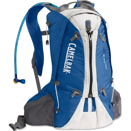 Camp and Hike The light CamelBak Octane 18X hydration pack is ideal for 3+ hours on the trail. It weighs only 1 lb. yet boasts 21 liters of capacity-enough for all your day-hiking essentials. 100 fl. oz. Antidote(TM) reservoir features a welded center baffle and low-profile shape for stability. Quick Link(TM) system lets you effortlessly add accessories such as a Fresh(TM) filter, insulated tube, tube director, flow meter or hanger (accessories sold separately). Hydration compartment loads easily, holding the reservoir flat against your back to leave more room for layers and gear. Wide-mouth port cuts weight and makes it easy to fill and clean the reservoir; quick-snap cap tightens in just a quarter turn. Folding arms lock into position to hold the reservoir open when drying; arms tuck out of the way around the port when not in use. Reservoir is taste free, easy to clean and easy to fill via the large opening. Big Bite(TM) valve is ergonomically positioned for easy drinking. Main compartment holds lunch or gear with a center zip expansion for additional cargo. Back panel with breathable mesh keeps fresh air flowing across the back for enhanced ventilation and comfort. Hipbelt features 2 stash pockets to accommodate snacks and often-used small essentials. Reflective accents enhance visibility in low light. The CamelBak Octane 18X hydration pack is assembled in the U.S. of domestic and foreign components. - $83.93