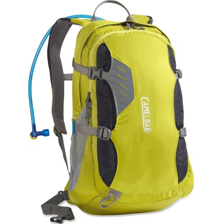 Camp and Hike The comfortable CamelBak Rim Runner hydration pack is a capable gear hauler with an ample reservoir to keep you hydrated during done-in-a-day adventures. 100 fl. oz. Antidote(TM) reservoir features a welded center baffle and low-profile shape for stability. Quick Link(TM) system lets you effortlessly add accessories such as a Fresh(TM) filter, insulated tube, tube director, flow meter or hanger (accessories sold separately). Hydration compartment loads easily, holding the reservoir flat against your back to leave more room for layers and gear. Wide-mouth port cuts weight and makes it easy to fill and clean the reservoir; quick-snap cap tightens in just a quarter turn. Folding arms lock into position to hold the reservoir open when drying; arms tuck out of the way around the port when not in use. Reservoir is taste free, easy to clean and easy to fill via a large, 3.5-in.-wide opening. Big Bite(TM) valve is ergonomically positioned for easy drinking, and stores clean and protected inside bite valve cover. Ergonomically designed harness spreads the weight across the back for load stability and comfort underway. Padded shoulder straps with sternum strap and a removable webbing hipbelt help distribute the load evenly. Breathable back panel with air-mesh keeps air flowing across the back; 1-in.-wide hipbelt is removable for weight savings. Main compartment holds lunch or gear; front pocket, with a weather-resistant zipper, keeps small essentials close at hand. Small zippered pocket with soft lining is perfect for storing sunglasses or MP3 player; includes exit port for headphones cord. Dual side-compression straps stabilize the load; daisy chain and bungee cinch system stash gear outside. CamelBak Rim Runner hydration pack is assembled in the U.S. of domestic and imported components. - $69.93
