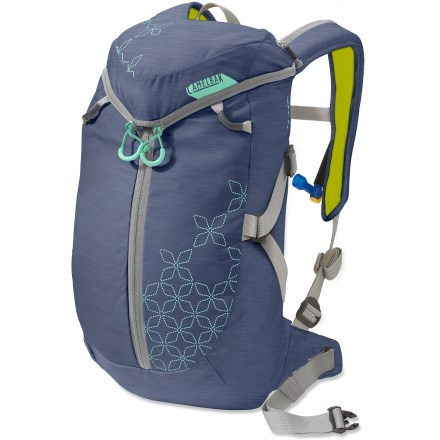 Ski The expandable CamelBak Ice Queen(TM) hydration snow pack for women stows all your in-bounds essentials and carries 70 fl. oz. of water. Women-specific harness curves just right to provide excellent carrying comfort and stability; sternum strap is positioned with a woman's anatomy in mind. The CamelBak Ice Queen offers enough room for lightweight excursions; lunch, extra layers, helmet, goggles, food and phone. Padded front pocket holds a digital music player and tools. Helmet carry loop makes it easy to stash your helmet while hiking. Removable harness helps secure the load and can be completely removed if necessary. Fully insulated drinking system features a foam-wrapped delivery tube. Placing a handwarmer packet (not included) in harness pocket prevents tube freeze-up; redesigned harness makes it easy to get to your mouthpiecee. Camelbak has improved zipper placement to ease loading the reservoir and to encourage frequent sipping. Reservoir holds up to 70 fl. oz. (2 liters), giving you access to fresh water on demand. Improved reservoir features a lightweight fill port, a low-proflie design and a cap that opens and closes easily. HydroGuard(TM) technology embeds an FDA-approved silver ion compound into reservoir film and delivery tube to eliminate bacterial growth. Big Bite(TM) valve features a handy on/off switch. - $50.83