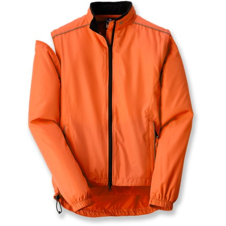Fitness The Canari Tour jacket features zip-off sleeves, giving you the versatility to span the seasons and a variety of sports. Zip-off sleeves convert the jacket to a vest; sleeves stash conveniently in the zippered rear pocket. BioVENT(R) fabric is soft, quiet and supple, as well as water resistant, breathable and windproof. Rear mesh venthelps manage moisture. Extended droptail hem offers good coverage when you're leaning forward in the saddle; elasticized drawstring waist helps seal out the weather. Front zippered pockets have reflective trim for increased visibility. Microfleece-lined collar adds warmth and softness next to skin. Full-length front zipper with draft flap allows quick ventilation yet prevents cold air from seeping inside. Jacket converts into a stuff sack with waistbelt attachments, for convenience when the weather is questionable. Closeout. - $44.93