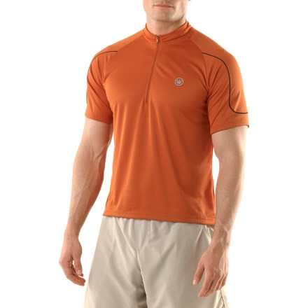 Fitness The Canari Sport Trail Bike jersey is ready to ride! Polyester fabric is moisture wicking and quick drying, and features mesh panels for increased breathability. Half-zip front offers ventilation while on the move. Rear pocket features 2 zippered openings for easy access to small items. Special buy. - $19.83