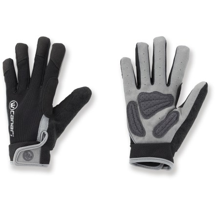 Fitness The Canari Full-Fingered Gel Extreme Bike gloves keep hands warm and comfortable while bike commuting or enjoying a weekend ride. Nylon mesh fabric offers great flexibility, moisture management and all-day comfort. Polyester/spandex blend palms with 3mm gel padding ease pressure on hands and wrists. Contoured wrist closure for a comfortable fit. Overstock. - $19.73