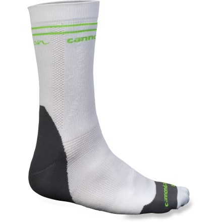 Fitness Slip on these Cannondale Race Winter bike socks for riding in cold, wet and snowy conditions. In cool weather, polyolefin offers insulation, moisture management and a soft, brushed feel. Blending in nylon/spandex fabric for durability; fabric feels like cotton against skin, and dries quickly. Strategic cushioning under toes, heels, metatarsal pad and Achilles footbeds enhance support. Built-in arch support keeps feet comfortable over long distances. Anatomically designed, these socks have a definitive left and right, providing a precise fit. *Discount will be applied when you check out. Offer not valid for sale-price items ending in $._3 or $._9. - $13.93