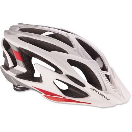 MTB The Ryker bike helmet from Cannondale offers excellent protection, comfortable adjustment and padding and 20 air-scooping vents, all at a fantastic value. 20 vents help move air into, through and out of the helmet to control heat and comfort. Tough polycarbonate shell is molded directly to the EPS foam for resilient protection. Alloy exoskeleton works along with the internal roll cage to supply reinforcement across the vent bridges, helping to maintain high levels of safety and ventilation. Rear retention harness is easily adjusted with the single, micro-adjusting dial; soft EVA padding offers high levels of comfort and doesn't absorb moisture or odors. As an added bonus, the rear harness is ponytail-friendly. Comfortable webbing straps with cam-lock dividers offer easy, secure adjustment for a personalized fit. Wicking pads keep sweat under control and enhance comfort. Removable visor. The Cannondale Ryker bike helmet complies with one or more of the following standards: USA CPSC, CE EN1078, AS/NZ 2063. - $49.93