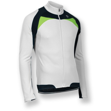 Fitness The Cannondale Classic long-sleeve bike jersey is ideal for racing, training and casual riding. Moisture-wicking Cannondale Re-Spun fabric reuses discarded fabric scraps and plastic drink bottles and reprocesses them into yarn. This post-consumer recycled PET polyester is tough enough to endure the daily grind without any loss of performance compared to virgin polyester. Fabric provides UPF 25+ sun protection, shielding skin from harmful ultraviolet rays. Full-length front zipper lets you control ventilation. 3 rear pockets, plus a pump pocket, stow essentials and snacks. Reflective accents enhance visibility in low light. Semifitted Cannondale Classic long-sleeve jersey is contoured to the body for enhanced aerodynamics. Closeout. - $28.83