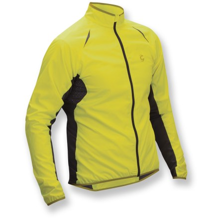 Fitness The Cannondale Pack Me men's bike jacket is a take-anywhere lightweight piece. Breathable, windproof and water repellent, the shell packs into itself for easy toting when the weather improves. Ultra-thin polyester fabric protects you from wind and light rain. Fabric is treated with a Durable Water Repellent finish for water resistance and quick drying. When the weather heats up, stow jacket by folding it into the zippered back pocket; it conveniently fits in a large rear jersey pocket. Rear pocket features zippers on both sides for easy access to your spares and other gear. Full-length zipper with windflap boosts wind protection. Reflective detailing increases your visibility in low light. Semifitted Pack Me jacket encourages aerodynamic performance while providing the trim silhouette of traditional cycle wear. - $38.83