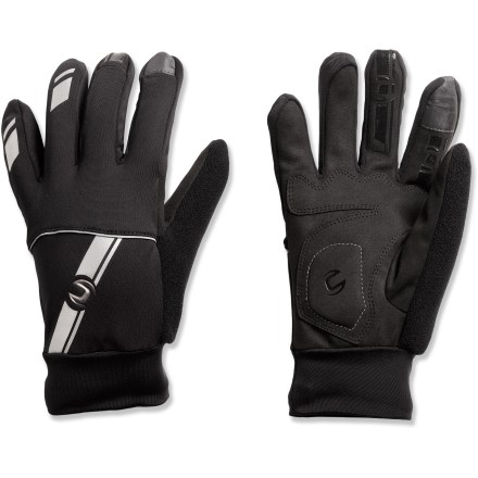 Fitness The Cannondale 3-Season bike gloves are perfect for cool seasons and mild winters. Conductive material on index fingers allow operation of touch-screen devices. Breathable, quick-drying polyester/spandex offers warmth without a lot of weight; built-in stretch on the back of the hands and cuffs provides a precise fit. 3mm gel foam padding at palms; soft terry fabric patches on thumbs. Silicone accents on fingertips offer better adherence to shift/brake levers. Reflective accents add visibility. - $23.93