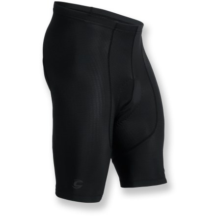 Fitness The men's Cannondale Nitro L.E. bike shorts sport loads of compression and incredible wicking for all-day comfort in the saddle. Fabric blend offers both stretch and compression; a soft matte surface wicks moisture to keep you dry. 8-panel construction contours to the body, eliminating wind drag. Multidensity, stitch-free chamois features perforated panels for breathability. Elastic leg grippers with silicone keep Cannondale Nitro L.E. shorts in place. Small exterior rear pocket holds a key, card or gel. Closeout. - $49.83