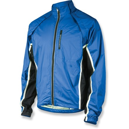 Fitness The Cannondale Morphis shell jacket morphs into a vest, so you're always ready to ride in a variety of conditions. Ultra-thin, packable 2-layer laminate fabric repels wind and light rain. When the weather heats up, just pull the sleeves off, converting jacket into a vest; sleeves detach as 1 piece and can be stowed in zippered rear pocket. Magnetic closures on vest make sleeve removal simple and quick. Rear mesh panel provides ventilation. Raglan sleeves promote freedom of movement. Cannondale Morphis Shell jacket sports reflective accents to increase your visibility in low light. Zippered chest pocket, rear pocket and hand pockets provide storage for food and bike accessories; chest pocket features a headphone port for your music player. Hand pockets feature an adjustable drawcord inside to cinch waist for stay-put coverage. Closeout. - $49.73