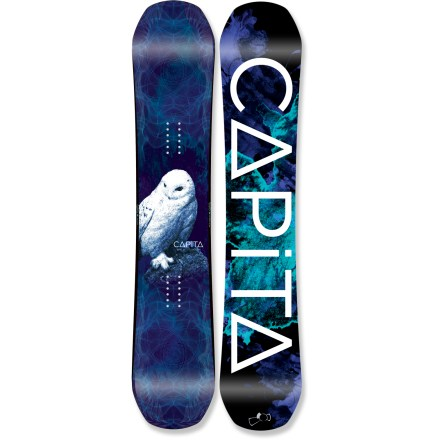 Snowboard The Birds of a Feather snowboard from Capita is a freestyle machine for women. You get the power of traditional camber and the predictability and ease obtained from reverse and zero camber. Hybrid FK camber profile offers the best of both worlds; load the camber for fast, powerful riding and stomp powder landings with ease because of the rocked nose and tail. Radial sidecut causes your board to start and finish a turn on the same arc for highly predicatable carving. SS Select wood core is engineered for anytime, anywhere reliable performance; it provides a perfect balance between energy, stability and pop. Biaxial fiberglass configuration results in a board that initiates turns easily while retaining the pop needed to handle variable conditions. 2 x 20mm carbon Kevlar(R) beams further increase ollie power and response. High Molecular Composition (HMC) extruded base is low maintenance and user friendly, and it performs well with or without your constant waxing and attention. HMC base is denser, more durable and more abrasion-resistant than standard extruded bases and is hard, fast and reliable. Features a transparent silk-screened topsheet and durable 360deg steel edges. . - $379.95