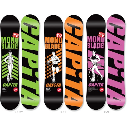 Snowboard Capita Stairmaster snowboard is bombproof and rips like no other board near the price. With a new lowered camber and a smaller, wider, softer design, it's made for maneuvering around the park. It's easy to turn and poppy and has a fun tail to land on, making it an awesomely predictable board for riding obstacles; it's a cult favorite among the Capita team riders! If you're a competitive pipe rider, true all-terrain variable conditions rider or a full-on speed demon, this board's traditional camber provides ultimate power and control. Positive camber elongates the effective edge and provides more power in your nose and tail; boards pop harder and have more high speed turn stability. Radial sidecut causes your board to start and finish a turn on the same arc for highly predictable carving. WDT wood core is designed to give jibbers and park riders the softer flex patterns they want without sacrificing durability. This pressure bonded wood composite core creates a new realm of lightweight, soft flexing boards that provide a damp ride and dependable durability. Pre-cured 420 fiberglass configuration is engineered to complement the WDT core construction and provides a high yield of energy memory. Extruded die-cut base excels in park attacks and urban jibbing because it's easy to maintain and repair and, when waxed, provides excellent performance. Capita Stairmaster has a silkscreened fluorescent topsheet with beautiful graphics. Silkscreened ABS sidewalls and 360deg steel edges are highly durable and long-lasting. . - $339.95