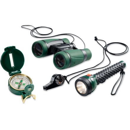 Camp and Hike Equip your young explorer for adventure! Perfect for hiking and camping, this kit combines a matching flashlight, whistle, compass and binoculars. - $30.00