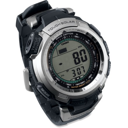 Entertainment This wrist-top information center from Casio keeps time via the accurate Atomic Clock and draws its power reliably from the sun! - $199.93