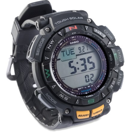 Entertainment The Casio Pathfinder PAG240-1 multifunction watch charges itself from the sun's rays and keeps you informed with its digital compass, altimeter/barometer and thermometer. - $200.00