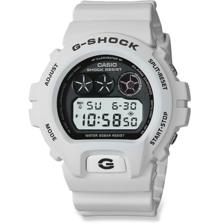 Entertainment The Casio G-Shock DW6900FS-8 Classic watch offers all the functions you need while you're on the move including grabbing attention with its cool old-school looks. Digital face displays time in 12- or 24-hour format with date and timer. G-Shock construction is tough and shock resistant; recessed buttons help prevent them from being accidentally pressed. Flash alert accompanies a buzzer for 3 multifunction alarms, snooze, 1/100-second stopwatch, hourly chime, countdown timer and auto calendar. Stopwatch measures elapsed time, split time and 1st/2nd place times. Auto EL backlight with afterglow lets you see the display in the dark. The Casio G-Shock DW6900FS-8 Classic watch is water resistant to 200m (660 ft.). - $89.95