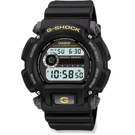 Entertainment The rugged Casio G-Shock DW9052-1BCG sport watch includes the features you need while you're on the move, plus a burly design that is tough and visually appealing. Digital face displays time in 12- or 24-hr. format with date and timer. Features daily alarm, auto repeat, 1/100-second stopwatch, hourly chime, countdown timer and auto calendar (preprogrammed to the year 2039). Stopwatch measures elapsed time, split time and 1st/2nd place times. Auto EL backlight with afterglow lets you see the display in the dark. Included CR2016 battery lasts up to 2 yrs. Casio G-Shock DW9052-1BCG sport watch is shock resistant and water resistant to 200m (660 ft.). - $69.95