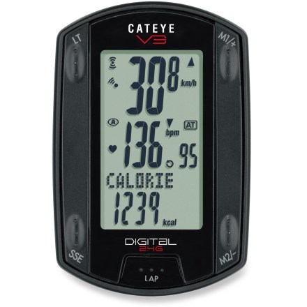 Fitness The Cateye V3 redefines elegance and power. Ride farther. Ride faster. Ride smarter. Ride V3. The wireless V3 adds heart rate functions (four heart rate zones) and calorie consumption in addition to cadence and speed. The latest 2.4 GHz digital data transmission virtually eliminates interference and cross talk. Large screen simultaneously displays speed, cadence and time information. Integrated buttons keep a low profile, yet provide great feel and control. Patent-pending sensor unit combines the speed and cadence sensors into one sleek, reliable piece that mounts on the chainstay. FlexTight(TM) brackets fits on virtually all stems and handlebars: 22 - 31.8mm. Fits almost any fork: 11 - 55mm. - $128.83