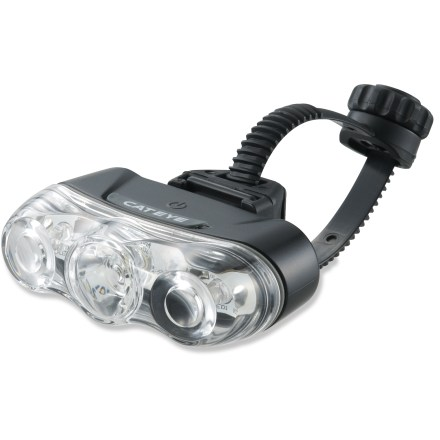 Fitness The CatEye Rapid 3 TL-LD630 Front Light uses LED bulbs for long-lasting, reliable brightness and increased visibility so you can ride safely in any light. Rapid, flashing, or constant modes allow you to choose based on lighting and riding conditions. Bright SMD-LED center and twin 5mm LEDs provide 6 - 80 hrs. of light based on chosen mode. Flex-Tight(TM) universal mounting bracket attaches securely to seatpost or rear stay; no tools required. CatEye Rapid 3 TL-LD630 Front Light includes a single AA battery. - $25.00