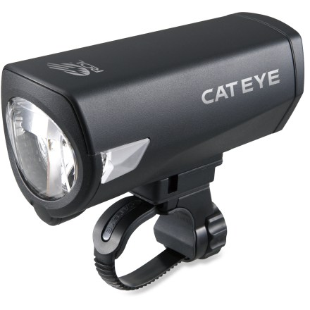 Fitness The rechargeable CatEye Econom Force RC front bike light provides easy, convenient illumination for your bike riding needs. High-power white LED puts out up to 170 lumens to light the way ahead. 3 different lighting modes (high, low and flashing) let you adjust your lighting needs on the go; light runs up to 2 hrs. on high, 9 hrs. on low and 60 hrs. on flashing. Flex-Tight(TM) universal mounting bracket attaches securely to your handlebar; no tools required. Comes with 4 rechargeable NiMH AA batteries; in a pinch, you can use standard AA batteries to power the light for added versatility. Low battery indicator lets you know when it's time to recharge; batteries recharge within 5 - 7 hrs. CatEye Econom Force RC front bike light comes with a battery charger. - $85.00