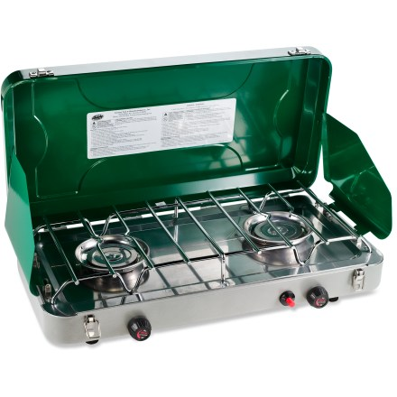 Camp and Hike The Century Matchless Ultra 2-burner stove lights with a push of a button, thanks to its piezo-ignition system! 2 large 5 in. burners give off 20,000 BTUs each to get your cooking done in short order; 7.1 in. of room in between the burners allows space for large cooking pots. Burners are independently adjustable so you can cook at 2 different temperatures at the same time. Piezo-ignition system sparks the burners to life without the need for matches. Lid and side panels provide a windscreen on blustery days; stainless-steel drip tray provides easy cleanup. Operates on a refillable bulk propane tank, not included; includes hose and regulator for connecting the stove to a refillable bulk propane tank. Due to flammable item shipping restrictions, we cannot sell fuel canisters online; they are available at REI retail stores. - $99.00