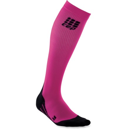 Fitness The women's CEP Running pink compression socks maximize muscle oxygenation for a boost in energy. These socks are manufactured by the worldwide leader in medical compression socks. Wear during exercise to reduce muscle strain and optimize performance and stabilization; wear post-exercise to hasten the recovery phase. Increased oxygenation is proven to extend energy, improve the metabolization of lactic acid and speed recovery from intense workouts. Compression socks enhance blood circulation, fueling muscles before, during and after activities; run with less effort, and experience more speed and less recovery time. Highly-developed, circular-knit construction results in an anatomically correct compression fit for superior performance and recovery. Wear them prior to exercise to activate muscles for reduced risk of injury. Padded soles help prevent blisters, and ventilation channels circulate cooling, drying air around feet; socks also support Achilles tendons and shins. Enjoy fitted comfort: right- and left-foot-specific socks accommodate to the anatomy of the feet; ventilation channels increase airflow. *Discount will be applied when you check out. Offer not valid for sale-price items ending in $._3 or $._9. - $32.83