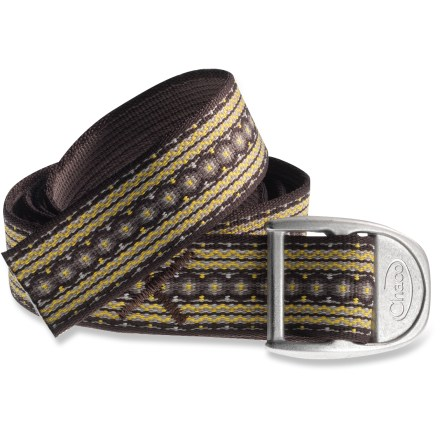 The rugged yet attractive Chaco webbing belt accents any outfit. Soft woven polyester belt includes an alloy Chaco buckle. Belt can be cut to any length; for best results visit your local REI and ask a sales associate for help with a heat knife. - $16.93