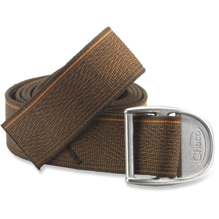 Ruggedly handsome, this soft woven polyester webbing belt from Chaco coordinates with any outfit. Comes 47 in. long and can be cut to any length-for best results visit your local REI and ask a sales associate for help with a heat knife. Heavy-duty metal alloy slide buckle is 2.5 x 2 in. - $16.93