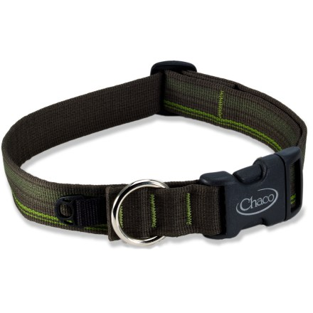 Camp and Hike This rugged Chaco dog collar shows that the benefit of tough Chaco webbing isn't just for your sandals any more. Outfit your dog for adventure with this strong and durable collar. - $6.83