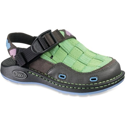 Entertainment The Chaco Paradox EcoTread shoes can take the abuse kids are known to deliver. Outfit them for adventure with these shoes. Full-coverage polyester webbing uppers with synthetic leather and microfiber accents protect feet from scrapes and sun. Adjustable ankle straps and instep straps work together to provide a secure fit. Molded polyurethane topsole/midsole units offer durable, dependable cushioning; anatomically shaped to support arches. EcoTread(TM) rubber outsoles contain 25% recycled rubber and offer superb traction. Toss in the washing machine for easy cleaning or clean by hand with scrub brush, baking soda and water; avoid bleach. The Paradox EcoTread shoes proudly carry the Seal of Acceptance from the American Podiatric Medical Association. All-synthetic construction makes the Paradox Ecotread shoes vegan friendly. Closeout. - $17.73