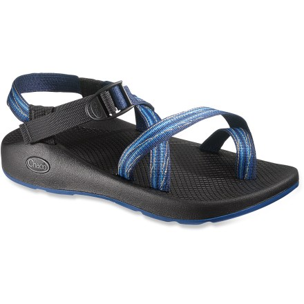 Entertainment Featuring the classic Colorado outsole, the Chaco Z/2 Yampa men's water sandals offer excellent performance in aquatic environs. Adjustable polyester strapping system uses pull-through design to give you a secure fit while avoiding the bulkiness of extra buckles and straps. Polyester webbing dries faster than nylon, maintaining a uniform fit in all conditions; adjustable toe loops add extra measure of security. Shaped polyurethane footbeds/midsoles feature a gender-specific design along with heel risers, heel cups and extra arch support for lasting pronation control. Toss into washing machine for easy cleaning or clean by hand with scrub brush, baking soda and water; avoid bleach and air dry. Vibram(R) Yampa nonmarking rubber outsoles feature 2-3mm lugging and water drainage channeling, much like the classic Colorado outsole. The men's Z/2 Yampa sandals can be resoled for a lasting relationship and easing of environmental stress. Closeout. - $37.83