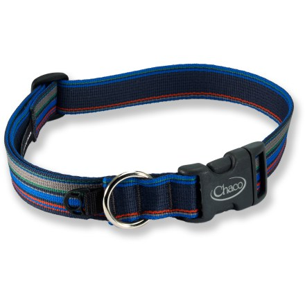 Camp and Hike This rugged Chaco dog collar is a great choice for your best friend. Collar features a sturdy quick-release buckle, metal ring for tags and a plastic clip for a safety light. Closeout. - $6.93