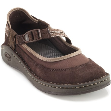 The Chaco Loyalist EcoTread shoes take the abuse kids are known to deliver. Suede leather and polyester uppers protect feet from scrapes and sun. Adjustable webbing instep straps provide a secure fit. Molded polyurethane topsole/midsole units offer durable, dependable cushioning; anatomically shaped to support arches. EcoTread(TM) rubber outsoles contain 25% recycled rubber and offer superb traction. Closeout. - $17.73