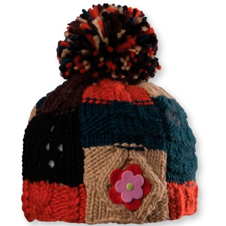 Ski The Chaos Thorton Patch Pattern beanie is simply adorable-she'll want to wear it whenever the temperature drops. Cozy acrylic keeps you warm without being itchy or uncomfortable. Soft, non-pilling polyester microfleece lining retains warmth, continuing to insulate even if wet. Puff ball on top. Special buy. - $12.83