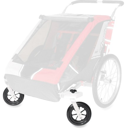 Fitness This kit converts specific Chariot Carrier 1 or 2 Chassis (sold separately) into a stroller. Comes complete with 2 pivoting 8 in. wheels; when not in use, they flip up under the chassis. Compatible with '98 - '05 Cougar/CX and '97 - '06 Cheetah/Cabriolet/Corsaire. - $75.00