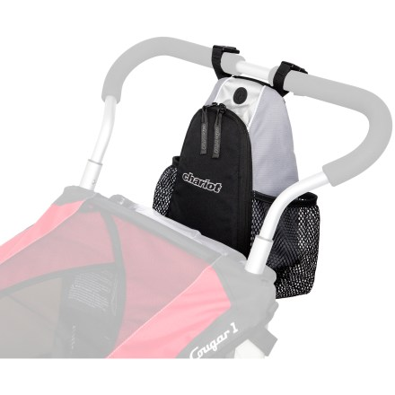 Fitness Chariot Carriers Multifunction Handlebar Console provides convenient storage right at your fingertips while strolling about with your Chariot carrier. Easily attaches to your carrier's handlebar with rip-and-stick tabs; bag can be carried and used as an on-the-go bag while away from the carrier. Boasts 2 exterior water bottle pockets, inside zippered pocket and an ear phone port for easy access to tunes. - $23.93