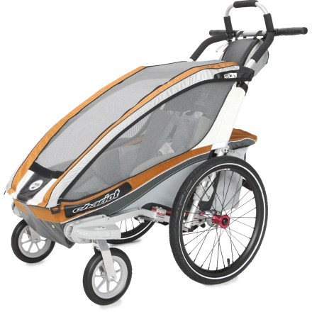 Fitness Chariot Carriers CX 1 Chassis comes ready to roll with the Stroller Kit and offers great performance and construction that can be easily adapted to meet the transportation needs of your adventures. Convenient kit mounting system lets you attach and remove the CTS kits with a simple push of a button. Main compartment features an easy-to-secure, padded 5-point seatbelt system with fleece-covered shoulder straps and hidden buckles. Removable padded seat bottom is topped with moisture-wicking mesh fabric; can be easily removed and washed by hand. Chassis suspension can be adjusted to supply the smoothest ride and maximize comfort based on passenger weight. Durable 2-in-1 weather cover with Quickclips(TM) provides easy and quiet access to the child compartment; also features a wide window with great visibility. Large, tinted windows enhance UV protection while allowing easy viewing; flap-covered side air vents let you adjust air circulation, or you can remove side windows altogether. Ergonomically designed handlebar features padding and lots of hand positioning options to ensure your comfort as you push the carrier. Hand-operated drum brakes are controlled via a removable lever on the handlebar. Keep on-the-go necessities easily accessible by storing them in either the included handlebar bag or mesh rear pocket just under the handlebar. Handlebar bag can double as a child's backpack. Sizeable rear storage compartment lets you carry more stuff for long trips; compartment folds up and out of the way when not needed. External frame design maximizes leg room and lowers the step-in height; ezFold(TM) design is simple and fast, and ensures the open carrier is locked into position. Built-in brackets allow you to store the Jogging or Cycling Kit (sold separately) on the carrier when not in use for easy on-the-go conversions. Lightweight 20 in. - $639.93