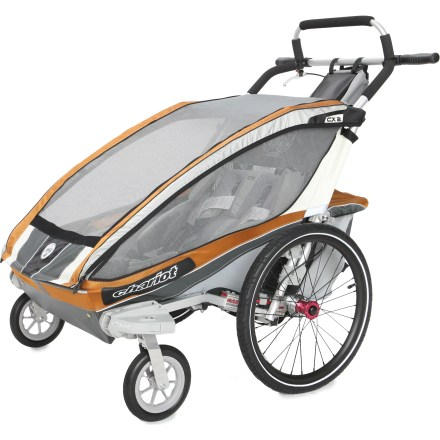 Fitness Sleek, comfortable and ready to transport 2 children, the Chariot Carriers CX 2 chassis comes ready to go with the included Stroller Kit and offers a versatile platform for all your family adventures. Configure the CX2 to fit your activities: comes with stroller kit and can be converted to a bike trailer, jogger, cross-country ski trailer and hiker; kits sold separately. Main compartment features an easy-to-secure, padded 5-point seatbelt systems with fleece-covered shoulder straps and hidden buckles. Removable padded seat bottoms are topped with moisture-wicking mesh fabric; can be easily removed and washed by hand. Chassis suspension can be adjusted to supply the smoothest ride and maximize comfort based on passenger weight. Durable 2-in-1 weather cover with Quickclips(TM) provides easy and quiet access to the child compartment; also features a wide window with great visibility. Large, tinted windows enhance UV protection while allowing easy viewing; flap-covered side air vents let you adjust air circulation or you can remove side windows altogether. Ergonomically designed handlebar features padding, and lots of hand positioning options ensure your comfort as you push the carrier. Hand-operated drum brakes are controlled via a removable lever on the handlebar. Keep on-the-go necessities easily accessible by storing them in either the included handlebar bag or mesh pocket just under the handlebar. Handlebar bag can double as a child's backpack. Sizeable rear storage compartment carries more stuff for long trips; compartment folds up and out of the way when not needed. External frame design maximizes legroom and lowers the step-in height; ezFold(TM) design is simple and fast, and ensures the open carrier is locked into position. Built-in brackets allow you to store the Jogging or Cycling Kit (sold separately) on the carrier when not in use for easy on-the-go conversions. Lightweight 20 in. - $679.93
