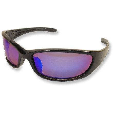 Entertainment Get the everyday eye protection you need with these streamlined, wrap-around Zodiac polarized sunglasses. Triacetate polarized lenses reduce 99% of visible glare from water, snow, sand and pavement for increased visual acuity and decreased eye strain. Lightweight and virtually shatterproof, polycarbonate frames are strong and acid- and heat-resistant. Black frames feature smoke gray lenses with a blue mirror coating to increase contrast and improve depth perception in a wide variety of conditions. - $24.95