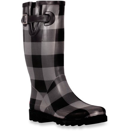 Stay dry and in style in these Chooka Printed rain boots, which offer a variety of printed patterns to bring a bit of fun into everyday wear. Tall natural rubber uppers form a tough, waterproof barrier to keep slush and puddles at bay. Shaft circumference is 15.5 in. and based on size 7; measurement is for the outside of the boot shaft and, in general, the internal measurement is roughly 1 in. shorter. Cotton linings absorb moisture off skin to keep feet comfortable. Adjustable side buckles at cuffs supply a personalized fit and a touch of style. Rubber midsoles provide cushioning and arch support for extended wear. Rubber outsoles on the Chooka Printed rain boots supply traction in wet and muddy conditions. - $33.83