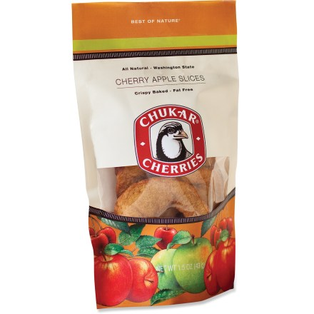 Camp and Hike The Chukar Cherries Cherry Apple slices are soaked in pure cherry juice, sprinkled with cinnamon sugar and then baked until crispy and sweet. Enjoy! Eat them alone or top your favorite dessert with these tasty apple slices. *Discount will be applied when you check out; offer not valid for sale-price items ending in $._3 or $._9. - $4.00